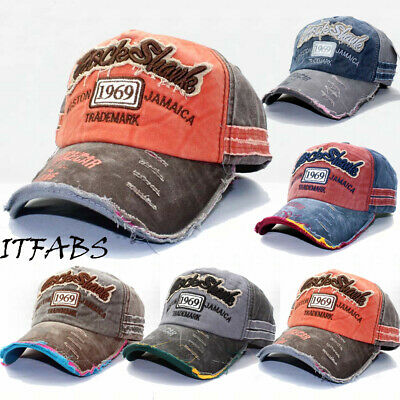 Men Women's Unisex Vintage Baseball Cap Adjustable Denim Distressed Trucker Hat