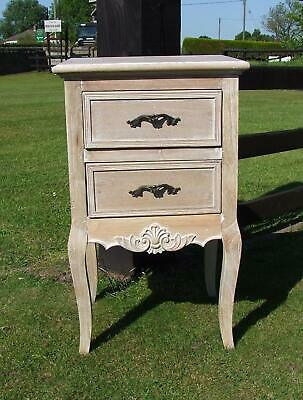 French Louis Xv Style Shabby Chic Hardwood 2 Drawer Bedside Chest (Cy16816)