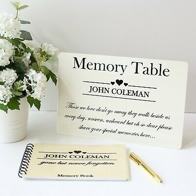 Funeral Memory book condolence + Sign Bereavement rememberance sympathy table