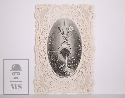 Antique Paper Lace Holy Card - Engraving of the Sacred Heart - France, c. 1910