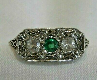 Antique 18K White Gold Filigree with Diamonds & Emerald Ring Size 7