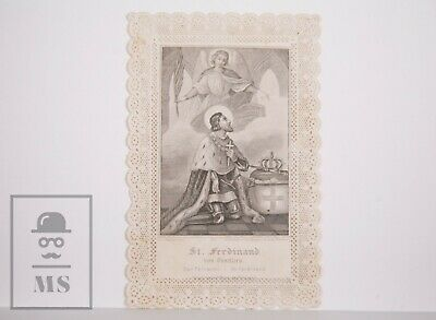Antique Paper Lace Holy Card - Saint Ferdinand - Nuremberg, Germany