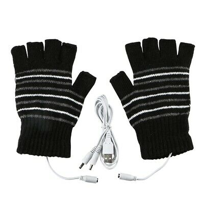 USB Heated Warm Gloves Half Finger Winter Heating Knitting Mittens Black AU Ship