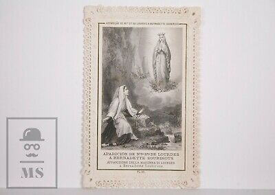 Antique Paper Lace Holy Card - Our Lady of Lourdes - Lamarche Ed., France