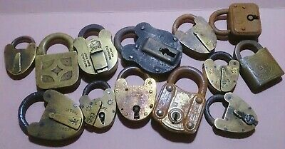 Job lot 13 assorted mixed padlocks - brass  - steel victorian VR stamp vintage
