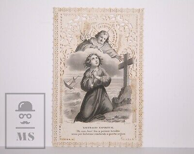 Antique Paper Lace Holy Card - Spiritual Shipwreck - L. Turgis Ed., France
