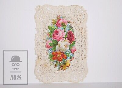 Antique Paper Lace Holy Card - Saint Cecilia / Flowers - Fr. Wentzel Ed., France