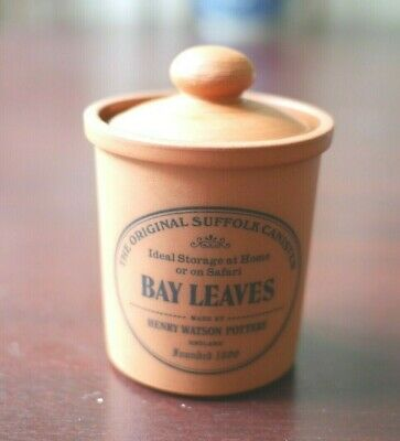 The Original Suffolk Canister Henry Watson Pottery BAY LEAVES
