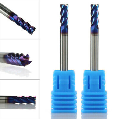 End Mill 4-Flute Flat Top Blue Nano Coated Carbide Cutting Engraving Replacement