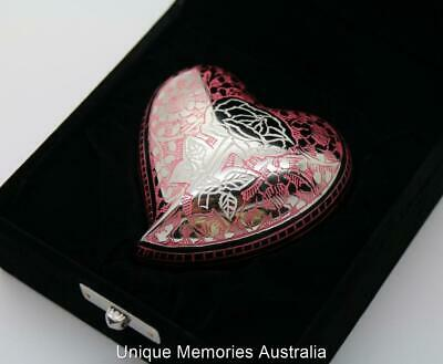 "3"" Solid Brass Pink Etched Silver Rose Heart Cremation Memorial Keepsake Ash Urn"