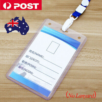 Clear Plastic ID CARD HOLDER POUCH PVC lanyard work BADGE Zip Lock BUSINESS T