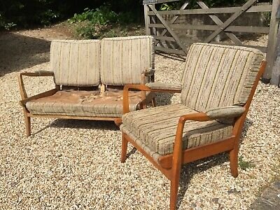 Vintage, Retro, Mid C Modern,1960's CINTIQUE , Danish era 2 seater and arm chair