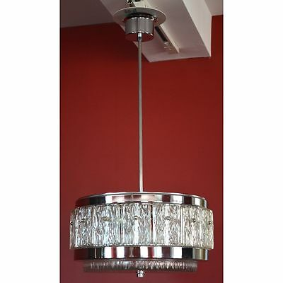 Superb Round Vintage French Mid Century Modern Chrome & Glass Chandelier