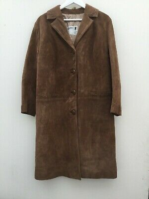 Womens Vintage Brown Suede Long length coat ~ 60's  Size 14/16uk