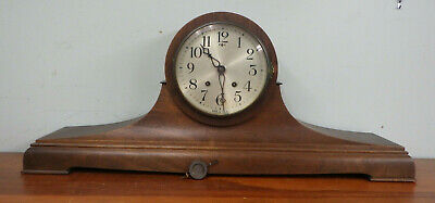 Large Antique Mantel Clock New Haven Tambour No. 15 Camel Back Running Condition