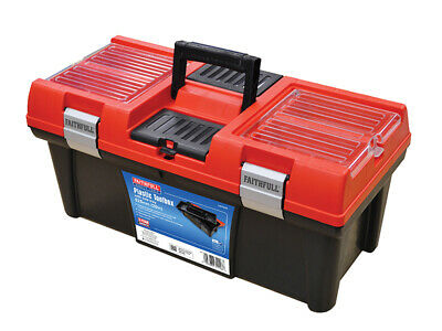 Faithfull Plastic Organiser Toolbox With Tote Tray 520mm