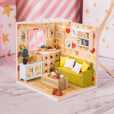3D Puzzle Wooden Handmade Miniature Dollhouse DIY Craft Kits -Lounge Room