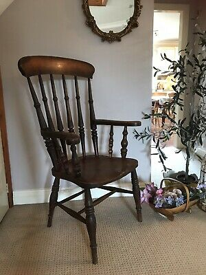 Antique Old Pine Farmhouse Carver Arm Chair Windsor Kitchen Wooden Armchair