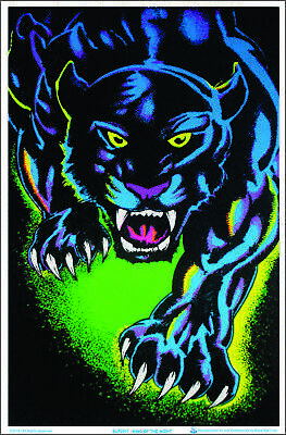 "King of The Night Panther Black Cat Blacklight Poster - Flocked - 23"" x 35"""