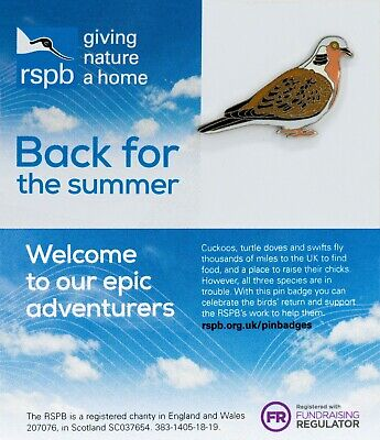 RSPB Pin Badge | turtle dove  Back for the summer #WingComing (01449)
