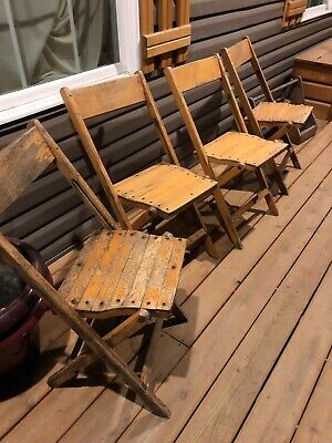 Vintage Snyder Antique Wood Oak Wooden Folding Chairs Set Of 4