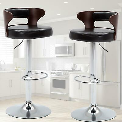 2 Pcs Bar Stools Chrome Faux Leather Kitchen Pub Barstool Breakfast Bar Chair