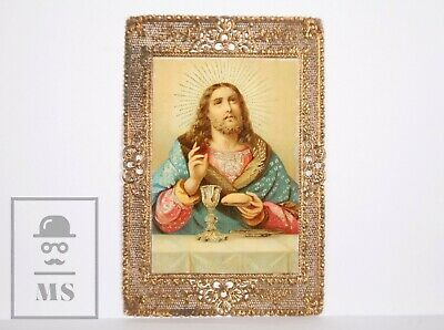 Antique Golden Paper Lace Holy Card - Communion Bread / Eucharist - Circa 1910