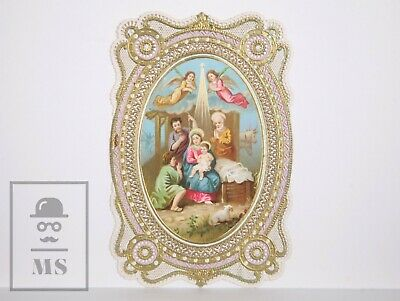 Antique Paper Lace Holy Card - Nativity - Circa 1910