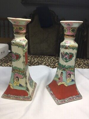 Pair Antique Hand Painted Porcelain Chinese Candlesticks Beautiful Old China