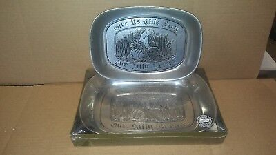 Give Us This Day Our Daily Bread Plates 10 3/4 & 9 1/4 Pewter Tray Dishes Wilton
