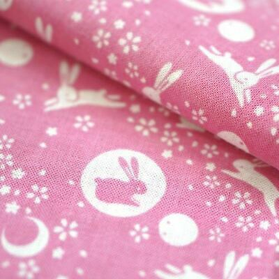 "Tenugui Japanese Traditional Cotton Cloth 35x90cm (13"" x 35"").. -Bunny pink"