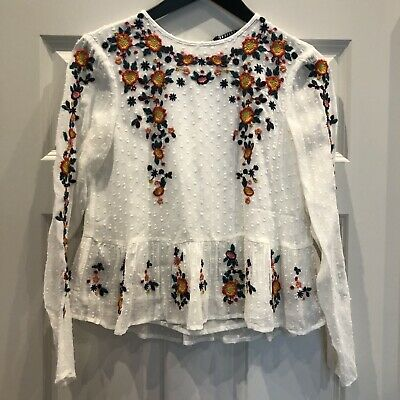 703572fb ZARA WHITE FLORAL Embroidered Shirt Top Blouse 0881/012_Xs S M Nwt ...