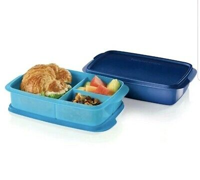 Tupperware Large Divided Lunch-It Containers - Set of 2 Indigo Blue - NEW!
