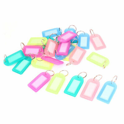 Assorted Color Plastic Rectangle Keychain Key Badge Name Tag Clip Holder 25 Pcs