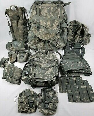 US Military ACU Molle II Large RuckSack w/Frame Rifleman Set-Vest+16 Pouches-LOT