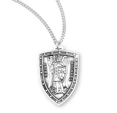 HMH Religious St Michael Archangel Shield Sterling Silver Medal Necklace w/Chain