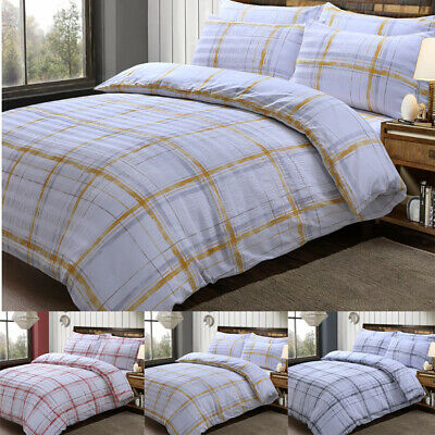 Seersucker Check Duvet Quilt Cover Pillowcases Set Printed Polycotton Bedding