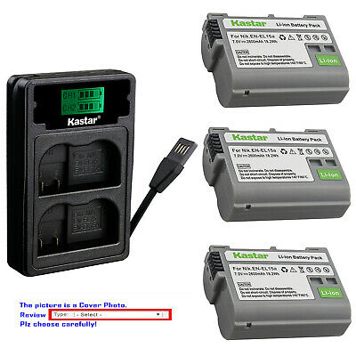 Kastar Battery LZD2 Charger for Nikon Original EN-EL15a Nikon Genuine EN-EL15b