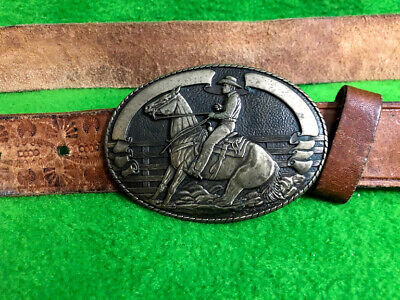 Vintage Tony Lama Solid Brass Belt Buckle With Leather Belt S 36 Cowboy Western