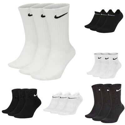 Nike Socks Genuine Mens Women Unisex Long 3 Pair Black White Sport Socks