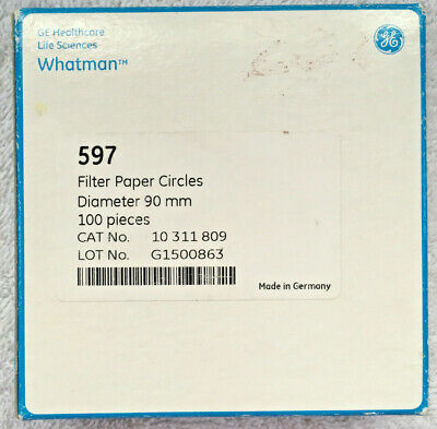 GE Healthcare Whatman 597 Filter Paper Circles 90mm Diameter 100 Pcs. - New