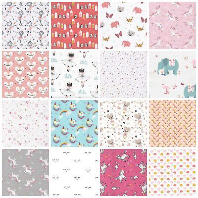 GIRLS 100% Cotton Fabric CHILDREN'S KIDS NURSERY 150cm Ex Wide OEKO-TEX