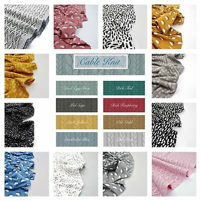 Printed JERSEY & CABLE KNIT Soft Cotton Stretch Knit Dressmaking Fabric OEKO-TEX