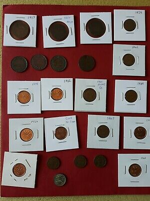 Lot Of Old Pennys 1900 , 1920 Coin Canada