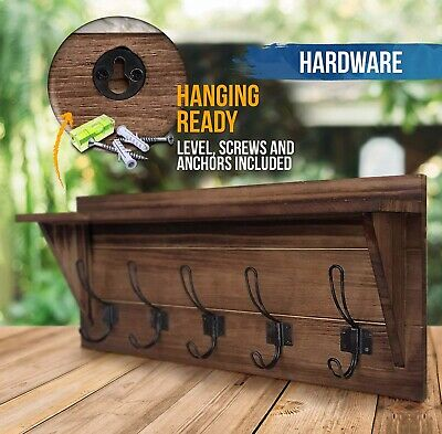 """Rustic Wall Mounted Coat Rack Shelf - Brown Wooden Country Style New 24"""""""