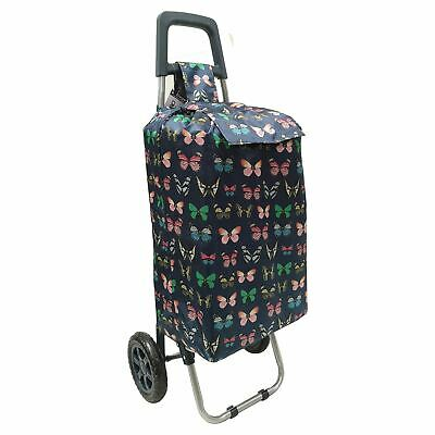 2 Wheels Folding Shopping Trolley Festival Butterfly Print Wheeled Travel Bag