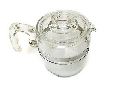 Vintage Stove Top 6 Cups Glass Pyrex Tea or Coffee Pot Maker Flameware USA Made