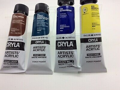 Collection 4 Daler Rowney Artist Acrylic 75 M Tubes Of Paint cryla professional