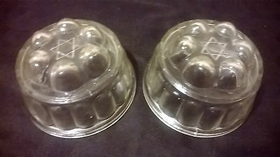 Antique vintage 1930s-1940 Star of David glass jelly moulds