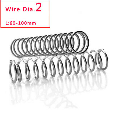 1pcs Wire Dia.2 304 Stainless Steel Compression Compressed Spring 60-100mm Long
